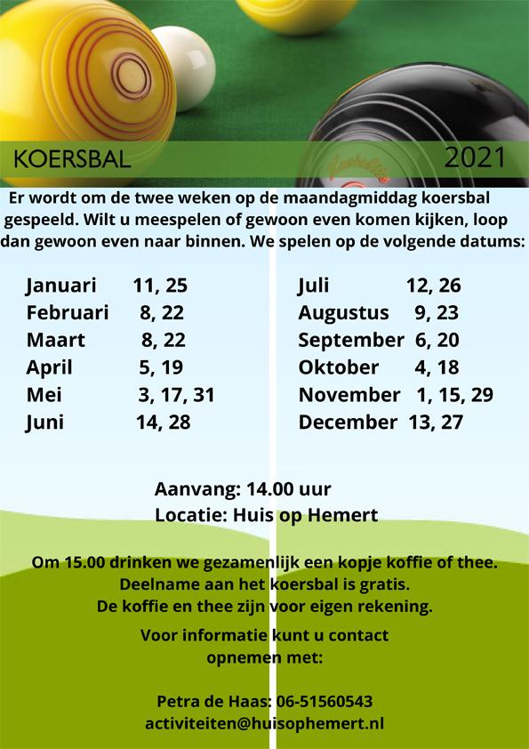 Om de week op maandagmiddag kunt u gratis deelnemen aan koersbal in Huis op Hemert